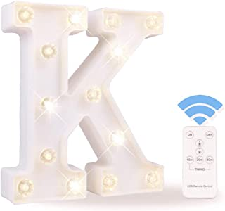 Obrecis White Light Up Marquee LED Letter Sign with Remote Timer Dimmable for Party Wedding Decor, Alphabet Wall Decoration Letter Lights, Letter K