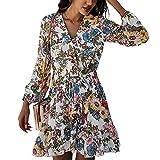 Primavera Y Verano Mujer Casual Manga Larga Estampado Floral Cuello En V Cintura Alta Vestido De Gasa Falda Corta Mujer