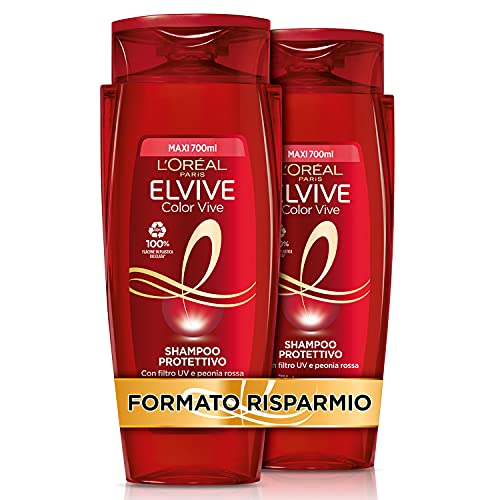 L Oréal Paris Shampoo Protezione Colore con estratto di peonia rossa e filtro UV, Confezione da 2 x 700 ml