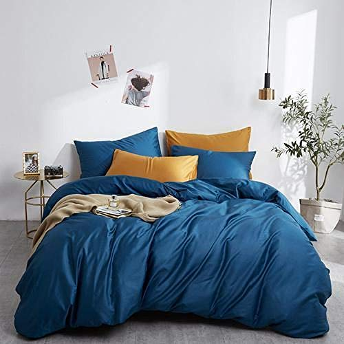 geek cook Bed sheet set queen,Egypt Cotton solid color Bedding set Silky Pure Duvet Cover set Single product bedsheet Pillowcases Twin Queen King Size-13_Twin size 4pcs