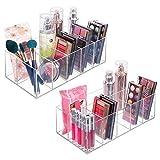 mDesign Organizador de maquillaje – Caja transparente con 6 compartimentos - Ideal para guardar maquillaje, cosméticos y productos de belleza – Plástico transparente