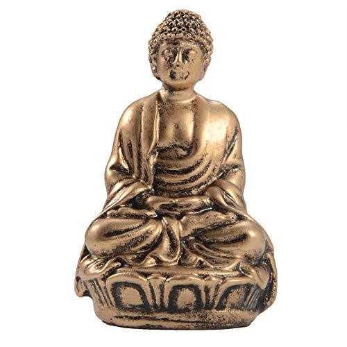 YJ Meditating Seated Resin Buddha Statue Figurine Zen Garden Accessories Desktop Decoration (R040-A)