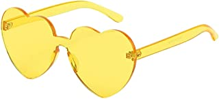 RNUYKE Heart Shaped Love Rimless Sunglasses One Piece Transparent Candy Color Frameless Glasses Tinted Eyewear Thick Slices