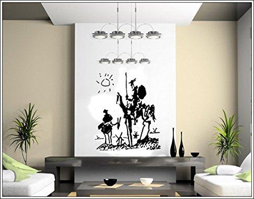 budhasuite® Vinilo Decorativo Quijote .(70x60cm.Aprox.) Color Negro.
