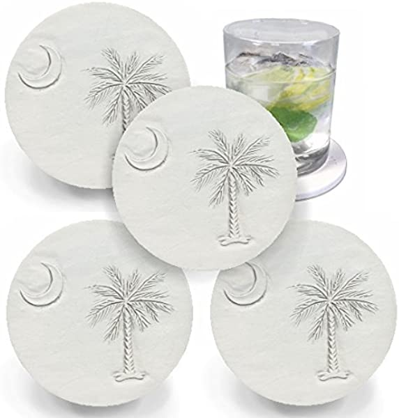 Drink Coasters By McCarter Coasters South Carolina Palmetto Moon Light Beige 4 25 Inch 4pc