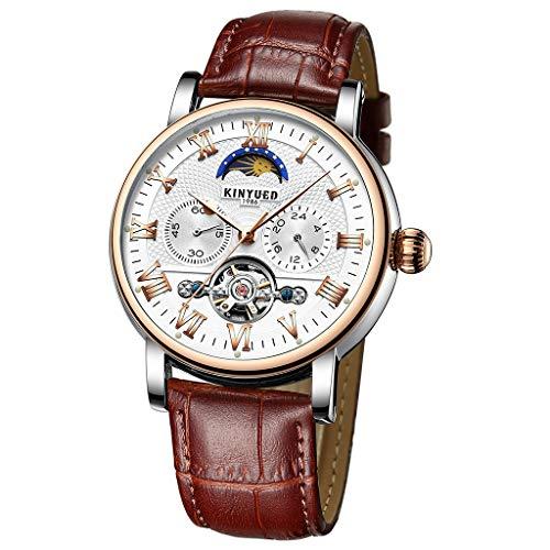 P Prettyia 1 Stück Mechanische Lederuhr Automatikuhr Armbanduhr Herren Damen Uhr Mondphase