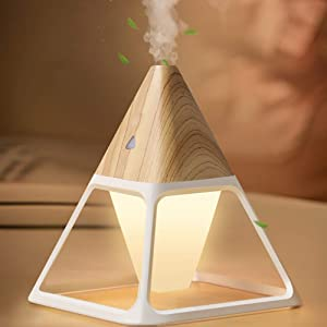 Mini Personal Humidifier LED Night Light Small Desktop Humidifiers 140ml for Kids Babies, Plants, Quiet Easy to Clean, Space-Saving Bedroom, Bedside, Living Room Home Office Desk Tabletop(Wood grain)
