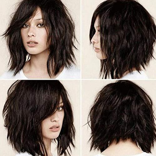 Kuizhiren1 Perruque courte et bouclée en fibre synthétique pour femme - Noir