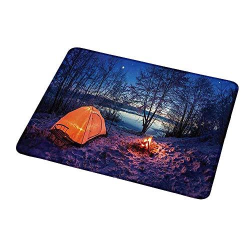 Computertastatur Maus Matte Wald, dunkle Nacht Camping Zelt Foto im Winter auf dem schneebedeckten Land am See, Blue Orangefor Magic Mouse