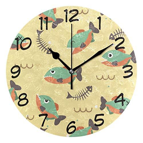 DragonSwordlinsu Coosun Piranha Wanduhr, geräuschlos, nicht tickend, Acryl, dekorativ, 25,4 cm, runde Uhr für Zuhause, Büro, Schule