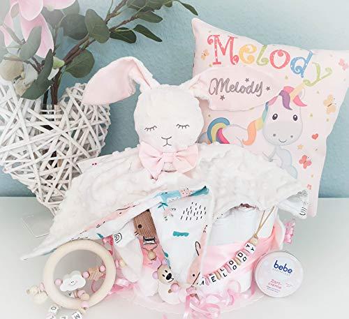 Windeltorte XXL - Hase + Schnullerkette & Greifling mit Namen - Geschenk, Babyparty, Geburt oder Taufe + auf Wunsch, gratis Grußkärtchen (rosa, Hase + Kissen mit Namen)