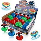 Liberty Imports 12-Pack LED Light Up Flashing UFO Spinning Tops with Gyroscope Novelty Bulk Toys...