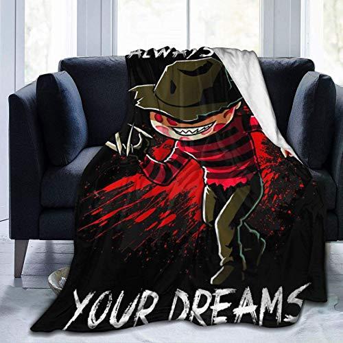 wenhe Freddy Nightmare - Manta de forro polar acogedora hecha de franela de felpa, manta para el hogar, cama, sofá, resistente a las arrugas, manta suave de 156 x 150 cm para adolescentes