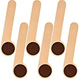 6 Pieces Coffee Scoop Clip Wood Coffee Scoop with Bag Clip Measuring Tea Coffee Bean Spoon Clip Tablespoon Wood Measuring Spoons for Ground Beans, Coffee Beans and Loose Tea