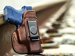 OutBags USA LS2G26 (Brown-Right) Full Grain Heavy Leather IWB Conceal Carry Gun Holster for Glock 26 G26 9mm / Glock 27 G27 .40 / Glock 33 G33 .357 / Glock 39 G39 .45GAP. Handcrafted in USA.
