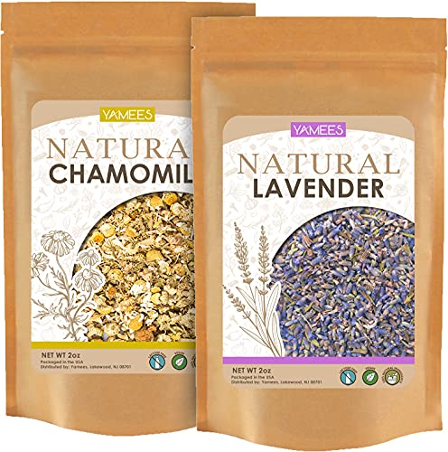 Yamees Lavender and Chamomile - Dried Cut Leaves - Natural Herbal Tea - Loose Tea - Bulk Spices - 4 Oz (2 Oz Each)