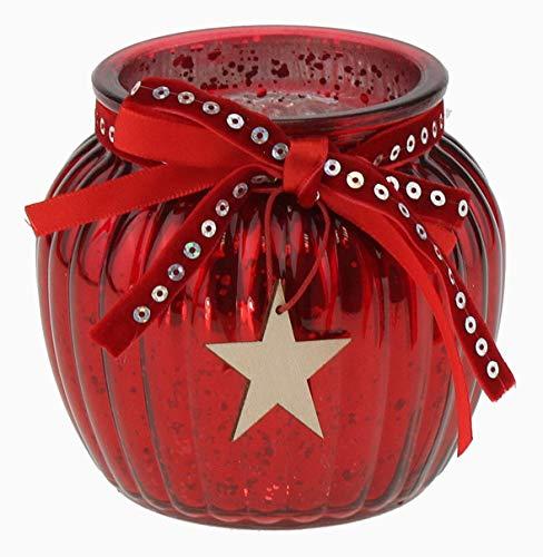 Werner Voß - Portavelas de Cristal con Estrella de Madera (11 x 10 cm), Color Rojo