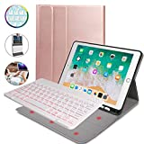N/B Teclado Inalámbrico para iPad, 9.7 iPad Teclado Funda Portalápices de Apple Incorporado, Bluetooth Teclado Tablet con 7 Retroiluminados Colores para iPad 2018 2017 (5th 6th Gen) (Rose Gold)