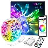 Govee 5m RGB LED Streifen Lichtband, LED Strip Lichterkette mit Musik, Bluetooth LED Band mit App, IR Fernbedienung und Steuerbox, Dimmbare, 7 Szenenmodi für Zuhause, Küche, Party, 3-Wege-Steuerung