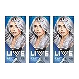 Schwarzkopf Live Coloration Ultra Brillante ou Pastel, Résultats de Couleur Intense de Couleur Semi-Permanente, 098 Acier Argent, Paquet de 3