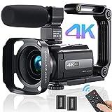MELCAM - Videocámara 4K, 30 fps, para cámara YouTube, zoom digital 16X, pantalla táctil IPS, visión nocturna por infrarrojos, con micrófono, mando a distancia, 2 pilas
