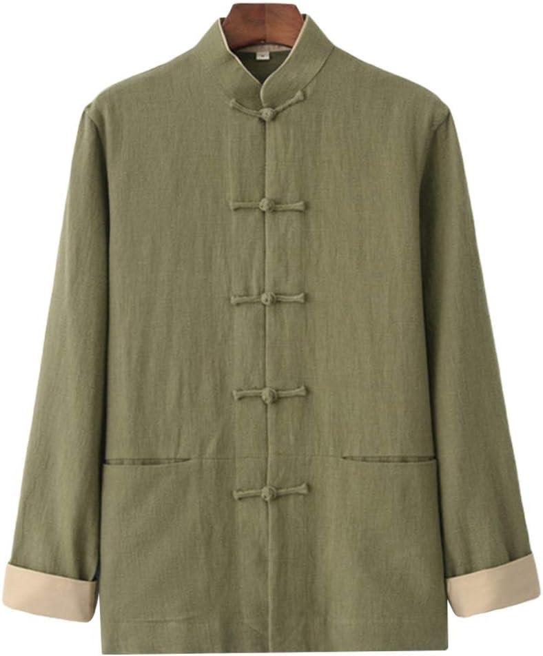 ZooBoo Men Chinese Traditional Linen Tang Suit Top Hanfu Coat