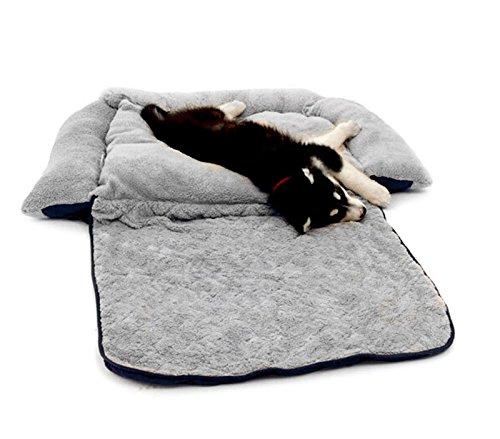 MEDIA WAVE store Poltroncina allungabile Cani Doppia Funzione Cuccia Morbida 112x55x18 di Colore Blu