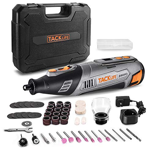 TACKLIFE 12V Cordless Rotary Tool, LCD Display with Accurate Speed Control, Ideal for Cutting, Grinding, Sanding, and Polishing, Portable Outdoor Precision DIY Projects, 46 Accessories-RTD03DC