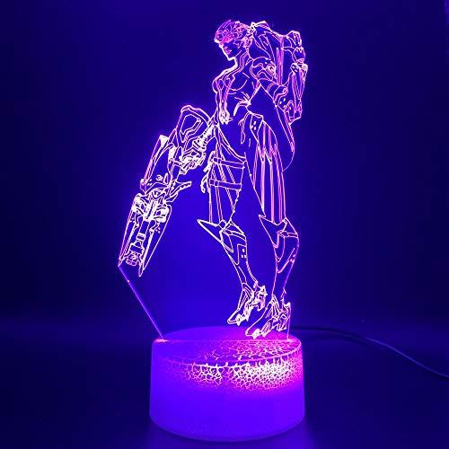 3D-Illusionslampe führte Nachtlichtspiel Overwatch Hero Widowmaker Figure Office Home Decoration Geschenk für Kinder Kinderzimmer