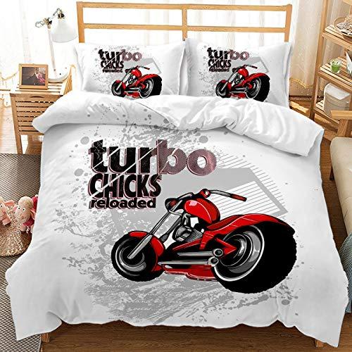 QXbecky Juego de Cama Cool Locomotora Motocicleta Funda de edredón Funda de Almohada 2, 3 Juegos de Microfibra cepillada cálida y Transpirable 260 * 230