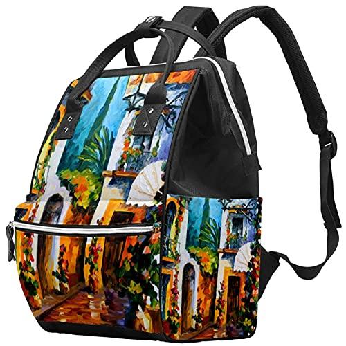 Yuelai Windel Tasche Rucksack Laptop Rucksack Reise Daypack für Frauen, Gartenhaus Bunte Blume