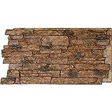 Ekena Millwork PNU24X48ALCB Acadia Ledge Stacked Stonewall Faux Stone Siding Panel, 49'W x 25 1/2'H x 1 1/4'D, Canyon Brown