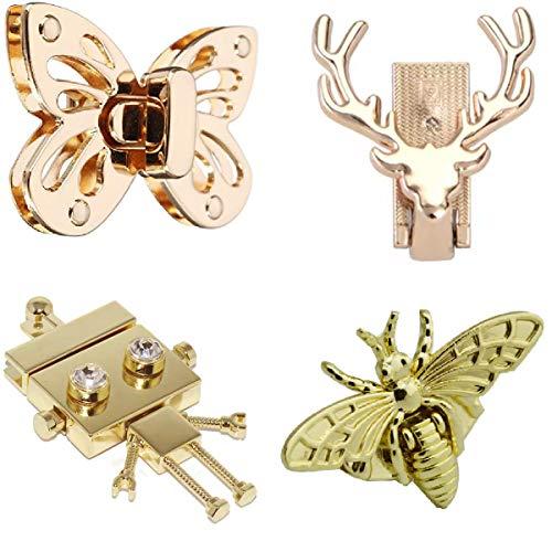 TANGGER 4 PCS Twist Turn Lock Handtasche Schloss,Handtasche Brieftasche Tasche DIY Metall Mappenschloss Steckschloss Twist Lock Geldbeutel-Torsions-Verschluss Golden