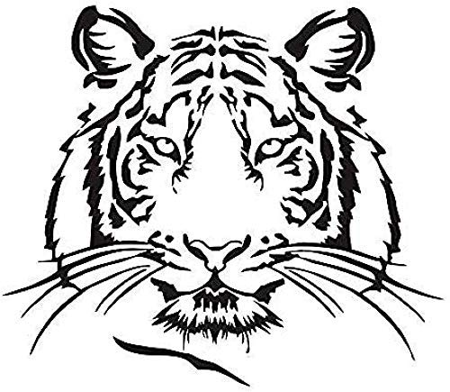 Habitación Infantil S Pegatinas De Pared Silueta De Cabeza De Tigre Pegatinas De Pared Animal Salvaje Decoración Del Hogar Gato Grande Pegamento De Vinilo Calcomanía Desmontable Arte Mural 50X