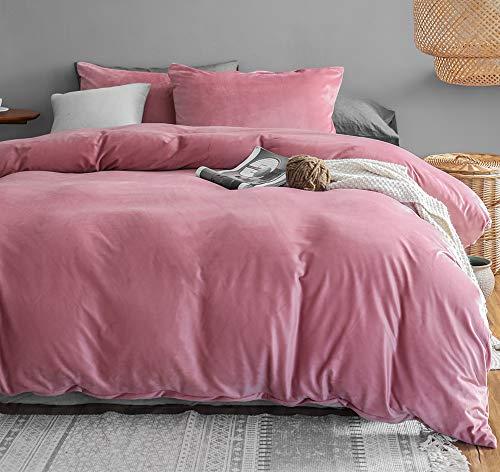 Juego de ropa de cama de invierno de Michorinee, 135 x 200 cm, cachemir, tacto suave, cálido y coral, forro polar con cremallera, color rosa, 135 x 200 cm + 80 x 80 cm