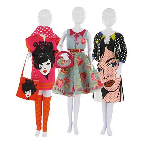 MaRécréation-MesBilles 2 robes dress your Doll dont 1 offerte model Aléatoire pour coudre des Habit Poupée Mannequin , Multicouleur