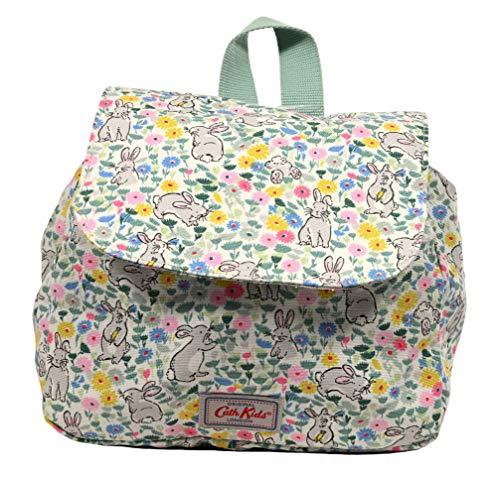 Cath Kidston Mini-Rucksack, leicht, 100 % Baumwolle, Hasenwiesen-Motiv, Hellgrün