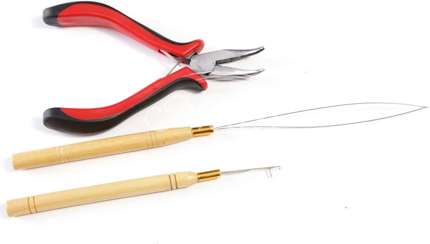 Neitsi 3pcs Kit for Micro Link Hair Feather Extensions: Pliers, Micro Pulling Needle, and Loop Threader
