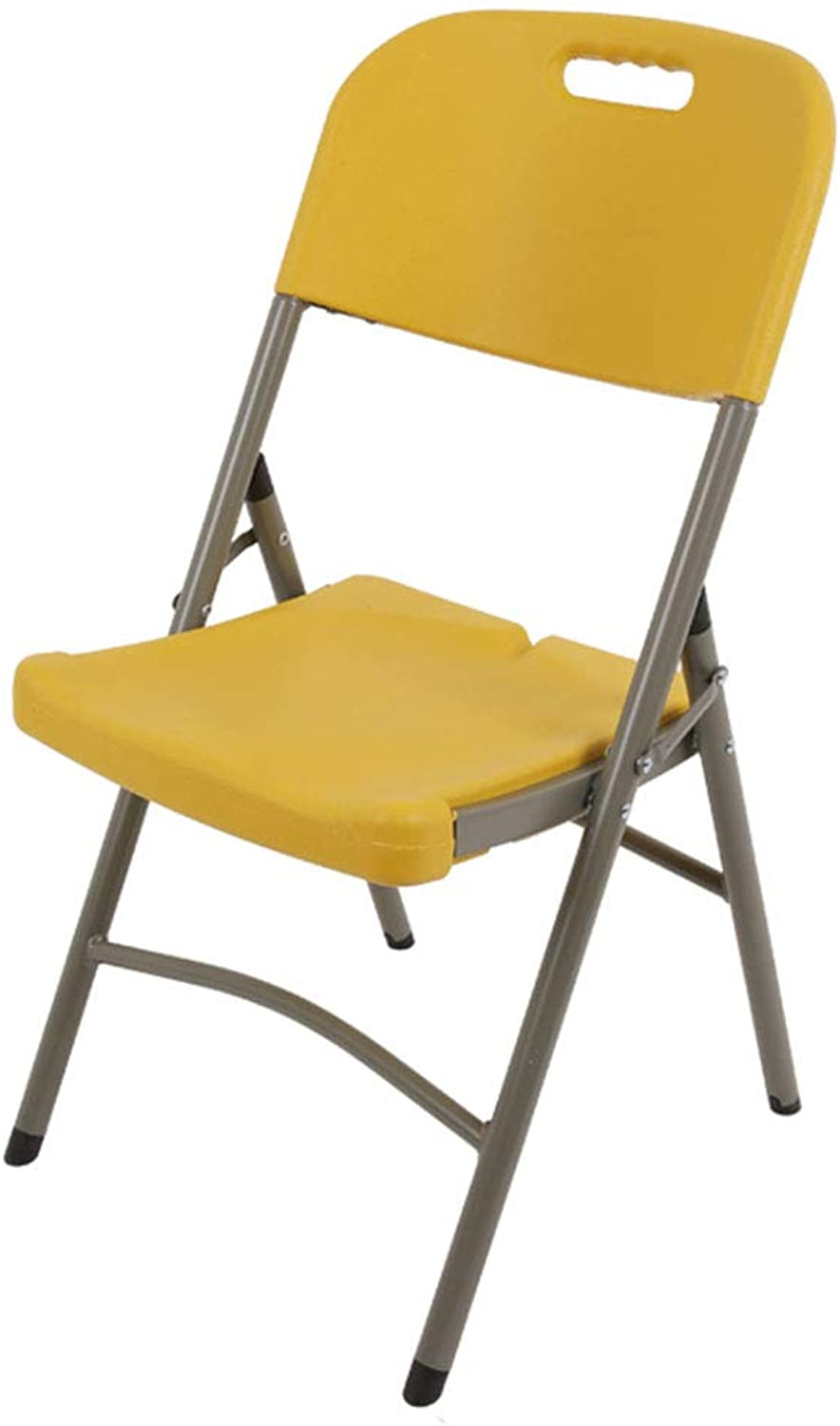 Folding Chair Home Leisure Training Portable Conference Chair Stall Table and Chair(45  43  88cm) (color   Yellow)