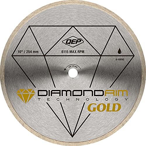 QEP 6-1003Q Continuous Rim Diamond Blade, 10-Inch Diameter, 5/8-Inch Arbor, Wet Cutting, 6115 Maximum RPM