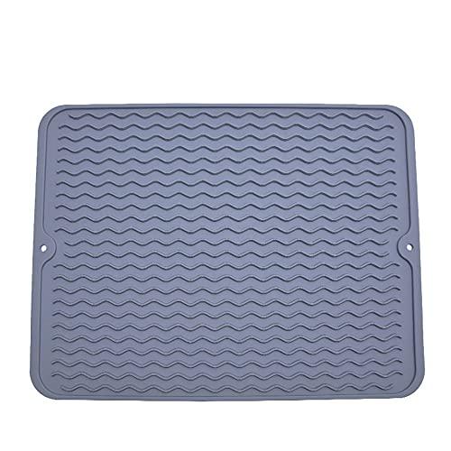 Alfombrilla de silicona resistente al calor, antideslizante, 40 x 30 cm, para lavar platos, color gris (silicona - azul)