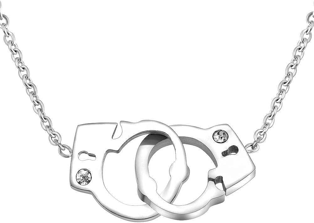 MZC Jewelry Handcuff Link Chain Necklace Stainless Steel Women Men Friendship BFF Pendant
