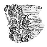 Photo de Q&SZ Sweatshirt Outdoor Headband Sketchy Hand Drawn Image of House Cartoon Like Witch Castle Halloween Themed Image Black and White Scarf Neck Gaiter Face Bandana Scarf Head Scarf par