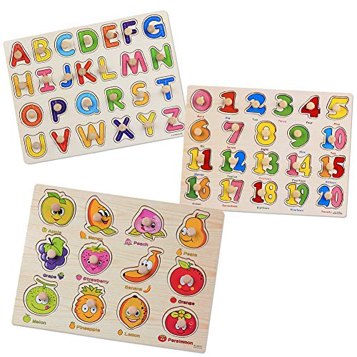 SIMUR Wooden Jigsaw Pegged Puzzle Board Colorful Numbers Alphabet Letters Fruit Puzzle Kids jigsaw Educational Toys 3 Pack