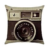 Funda de cojín retro vintage con cámara de algodón para sofá, decoración del coche, 45 x 45 cm (sin núcleo de la cabeza)