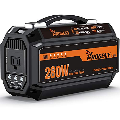 PROGENY 280W Generator Portable Power Station- [350W Peak / 67500mAh ]-Lithium Battery Pack Supply with 110V AC Outlet, 3 DC 12V Ports, 2 USB, Solar Generators for Camping CPAP Emergency Home Car RV