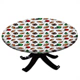 Nappe ronde avec bords élastiques, style dessin animé, symboles de rugby, balles de culture, jeux de compétition, sports de football américain, pour tables jusqu'à 91,4 cm de diamètre, multicolore