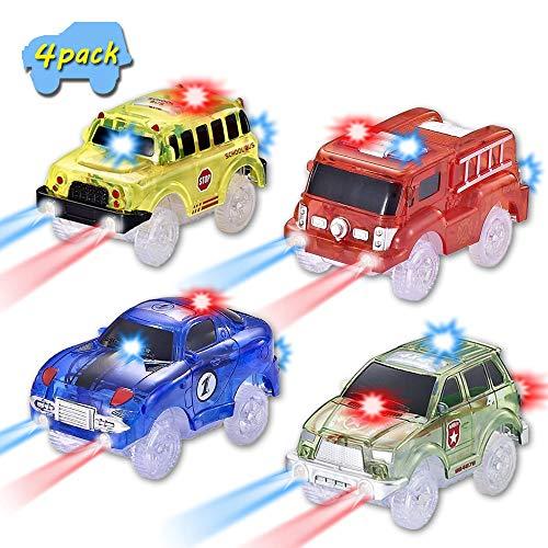 CODOMOXO - Lote de 4 rastreadores mágicos para coche luminosos para el circuito flexible (4 paquetes)