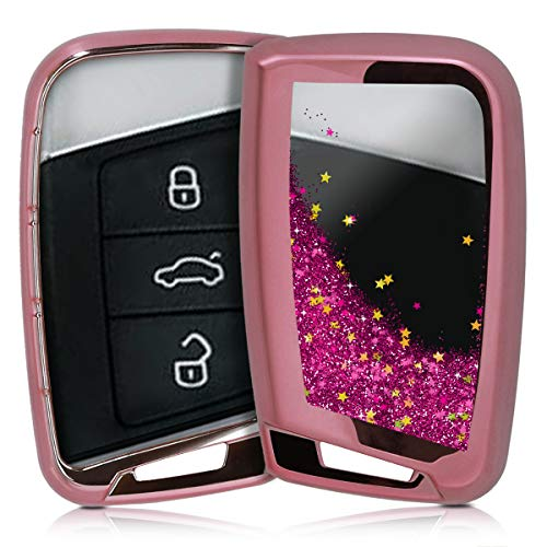 kwmobile Autoschlüssel Hülle kompatibel mit VW 3-Tasten Autoschlüssel (nur Keyless Go) - TPU Schutzhülle Schlüsselhülle Cover Schneekugel Sterne Pink Metallic Pink