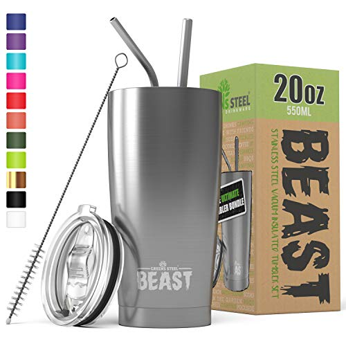 BEAST 20oz Stainless Steel Tumbler Vacuum Insulated Coffee Cup Double Wall Travel Flask Mug with Splash Proof Lid, 2 Straws, Pipe Brush & Gift Box Bundle By Greens Steel
